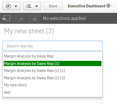 Qlik sense extension search story listing