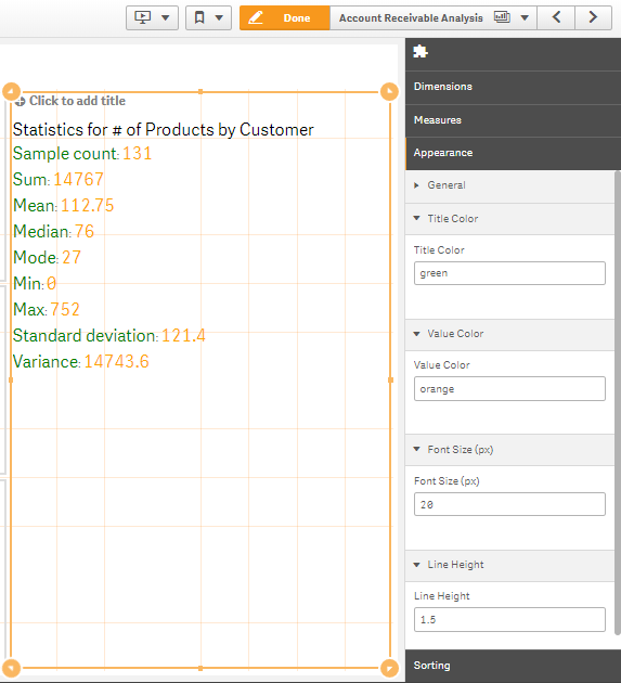 Qlik sense extension statistics summary options