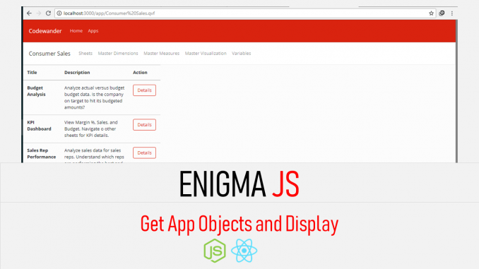Qlik sense enigma js example - Get App Objects List - CodeWander