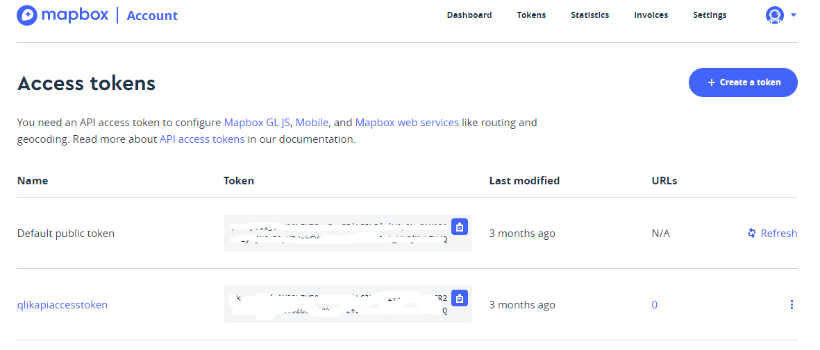 Mapbox - List Access Tokens