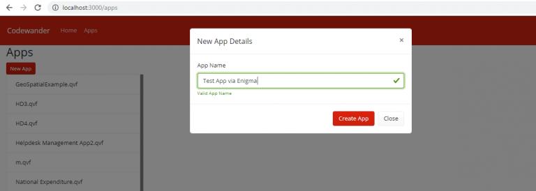 Qlik sense enigma js example create app Validate App Name